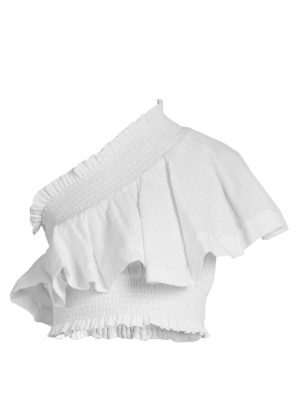 http://www.matchesfashion.com/products/Cecilie-Copenhagen-One-shoulder-ruffled-cropped-cotton-top%09-1097880