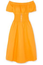 https://www.net-a-porter.com/gb/en/product/1052728/maje/off-the-shoulder-shirred-cotton-blend-dress